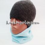 Вязаная двойная шапка резинкой 1х1 - knit-solo.com