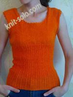 Оранжевый летний топик спицами