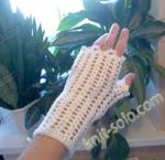 Ажурные митенки крючком - knit-solo.com
