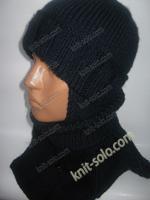 Вязаный комплект для ребенка - шапка с ушками и манишка с узором Сова - knit-solo.com