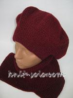 Вязаный спицами комплект берет и шарфик - knit-solo.com