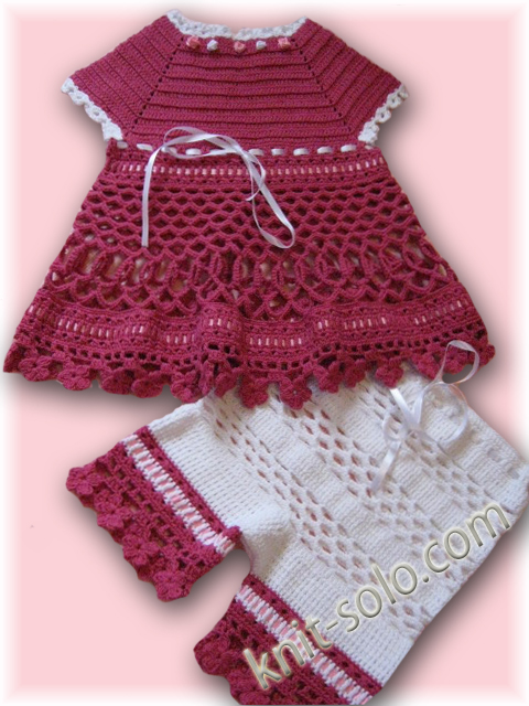 Вязаный крючком летний комплект: платье и штанишки для девочки