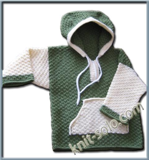 Пуловер с кармашком спицами
