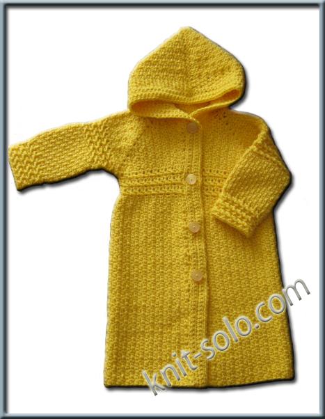 Пальто крючком для малышки.