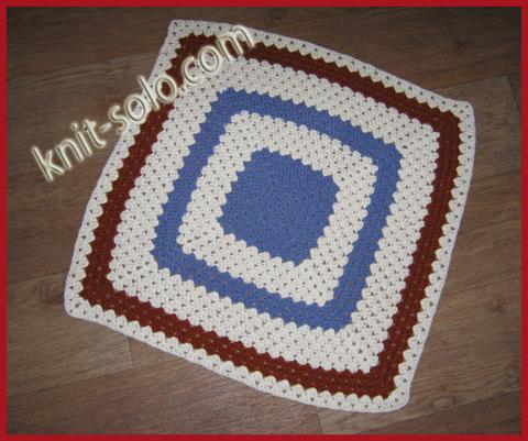 Коврик, бабушкин квадрат, www.knit-solo.com