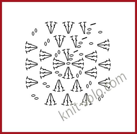 Подушка, бабушкин квадрат - схема, www.knit-solo.com