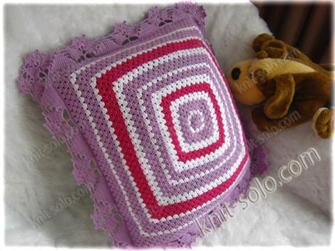 Подушка, бабушкин квадрат, knit-solo.com