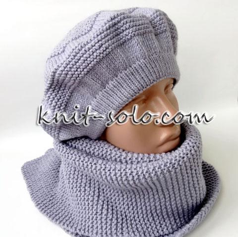 Красивый женский берет спицами - knit-solo.com