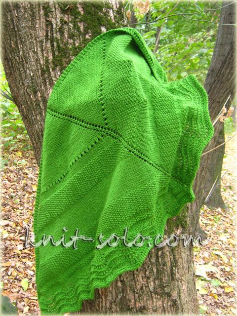 Вязаная шаль Green Field - knit-solo.com