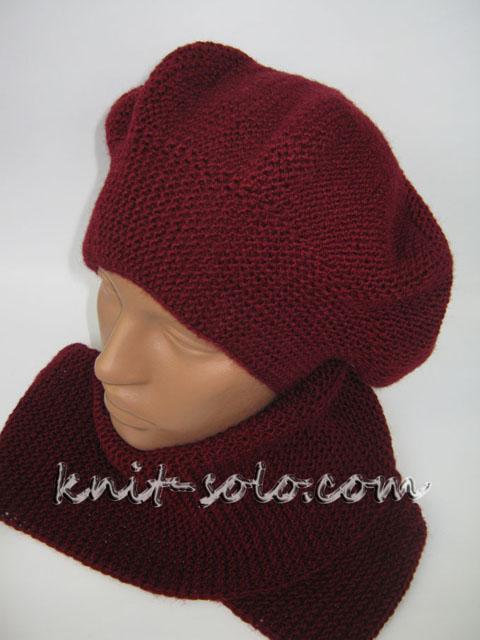 Берет и шарфик спицами - knit-solo.com
