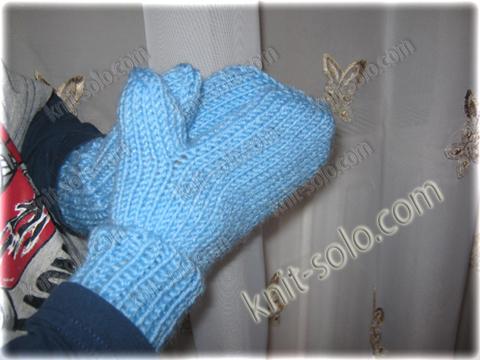 варежки спицами для ребенка 2-х лет - knit-solo.com