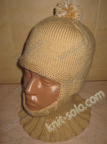 шапка-шлем спицами для ребенка 3-4-х лет - knit-solo.com