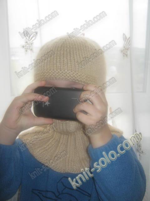 шапка-шлем спицами для ребенка 2-4-х лет - knit-solo.com