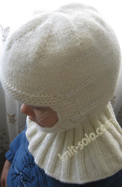 шапка-шлем спицами для ребенка