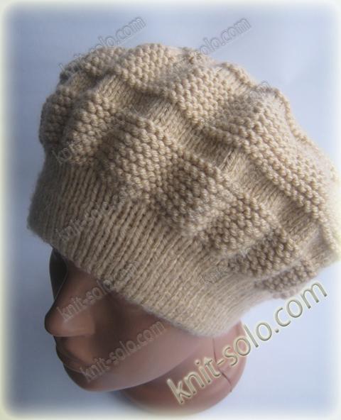 Вязаный спицами теплый зимний берет - knit-solo.com