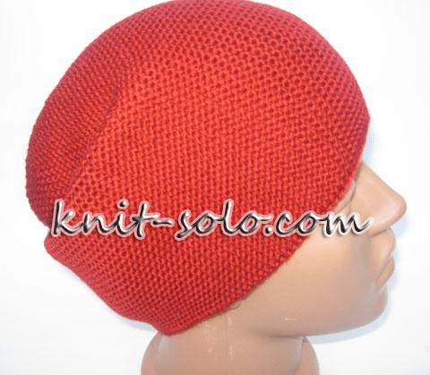 шапка бини спицами платочной вязкой- knit-solo.com