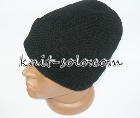шапка платочной вязкой с отворотом- knit-solo.com