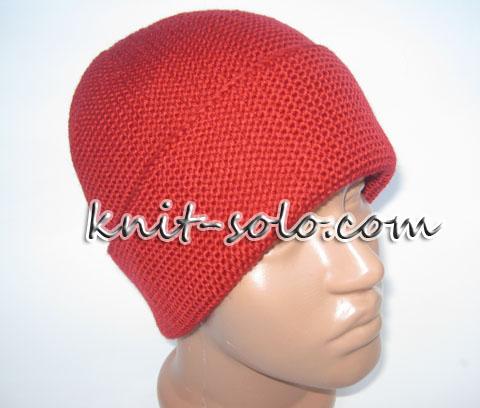 шапка бини спицами платочной вязкой-knit-solo.com