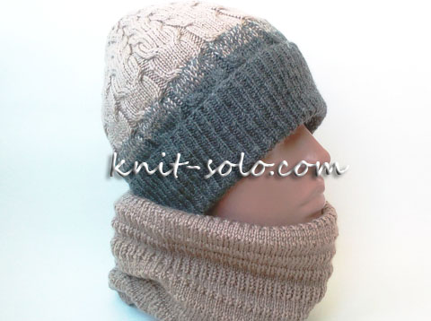 Шапка с отворотом спицами - knit-solo.com