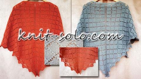 Ажурная треугольная шаль спицами - knit-solo.com