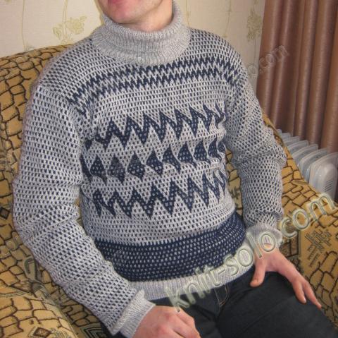 Мужской пуловер спицами с жаккардовым узором - knit-solo.com
