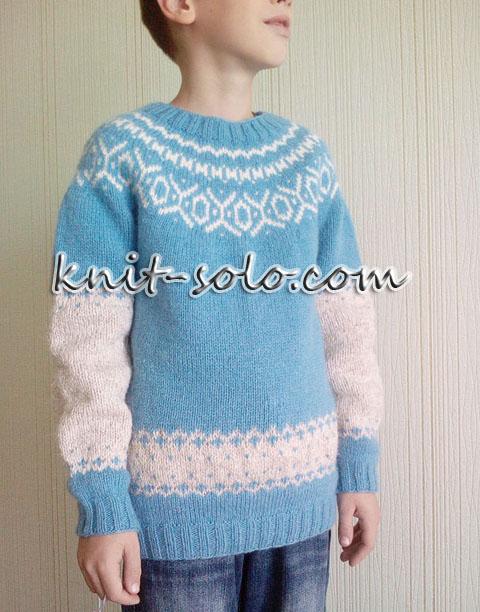 вязаный джемпер с круглой жаккардовой кокеткой - knit-solo.com