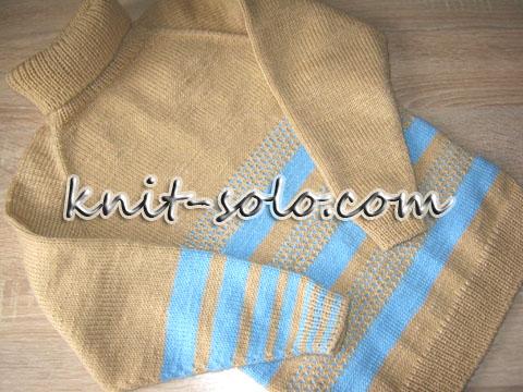 Полосатый детский свитер с простым узором ленивого жаккарда - knit-solo.com