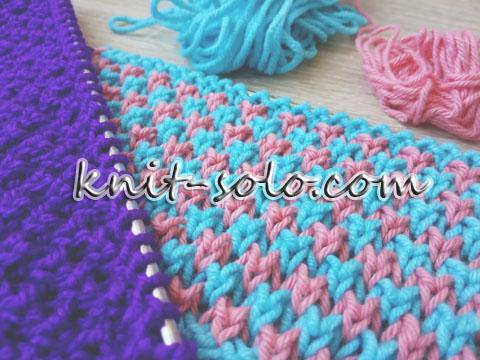двухцветный узор, вязание спицами - knit-solo.com