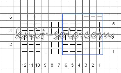 Платочная путанка спицами, схема узора - knit-solo.com