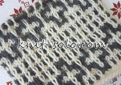 Узор крестики ленивым жаккардом - knit-solo.com